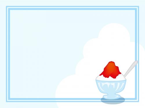 かき氷と入道雲のフレーム飾り枠イラスト