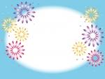 水色の花火のフレーム飾り枠イラスト