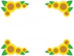 夏・ひまわりの四隅フレーム飾り枠イラスト