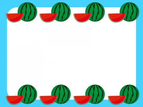 涼しげなスイカのフレーム飾り枠のイラスト