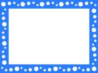 青い水玉模様のフレーム飾り枠イラスト