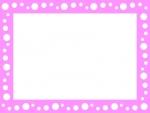 ピンク色の水玉模様のフレーム飾り枠イラスト
