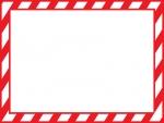 紅白の斜めストライプのフレーム飾り枠イラスト