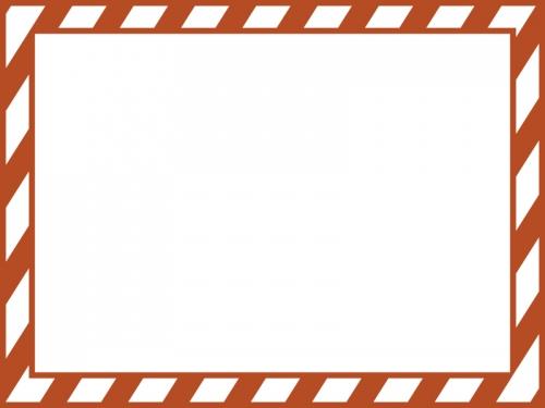 白と茶色の斜めストライプのフレーム飾り枠イラスト