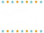 水色とオレンジの星のフレーム飾り枠イラスト