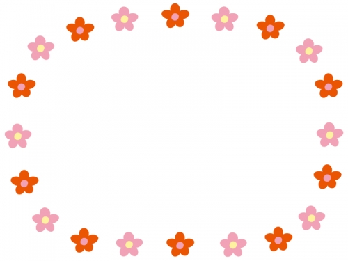 ピンクと赤の小花のフレーム飾り枠イラスト