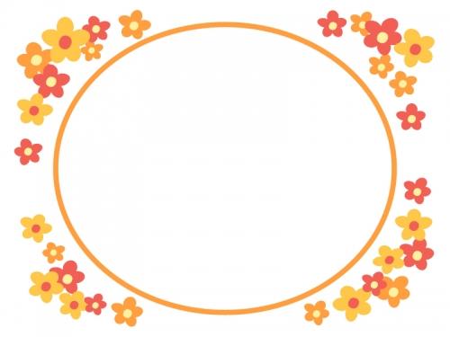 オレンジ色の小花のフレーム飾り枠イラスト