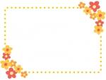 オレンジ色の小花のドットフレーム飾り枠イラスト