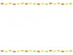 カラフル点線・橙黄緑のフレーム飾り枠イラスト