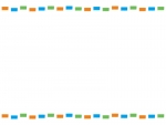 カラフル点線・橙青緑のフレーム飾り枠イラスト