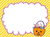 ハロウィン・かぼちゃとキャンディのフレーム飾り枠イラスト