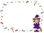 ハロウィン・魔女とキャンディのフレーム飾り枠イラスト
