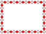 紅白のひし形のフレーム飾り枠イラスト
