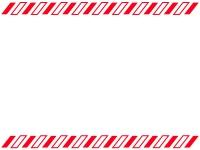 上下の紅白斜めストライプのフレーム飾り枠イラスト