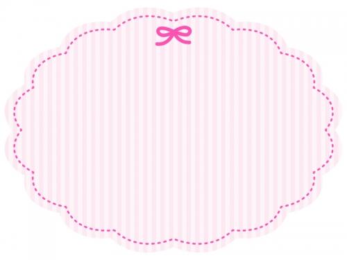 ピンクのリボンのストライプフレーム飾り枠イラスト