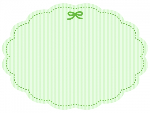 グリーンのリボンのストライプフレーム飾り枠イラスト