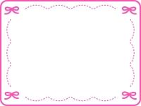 ピンクのリボンのステッチ風フレーム飾り枠イラスト