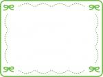 グリーンのリボンのステッチ風フレーム飾り枠イラスト