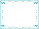 ブルーのリボンのステッチ風フレーム飾り枠イラスト