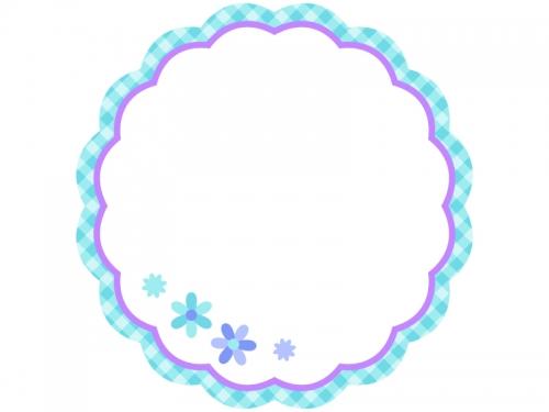 ブルーチェックの小花フレーム飾り枠イラスト