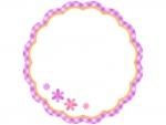 紫✕オレンジのチェックの小花フレーム飾り枠イラスト