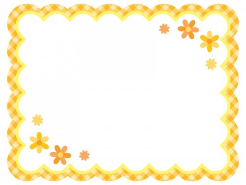 黄色✕オレンジチェックの小花フレーム飾り枠イラスト