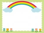 虹と草花のフレーム飾り枠イラスト