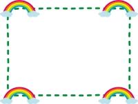 四隅にある虹のフレーム飾り枠イラスト