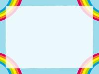 四隅の虹と青空のフレーム飾り枠イラスト