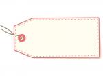 荷札・タグ(赤)のフレーム飾り枠イラスト