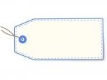 荷札・タグ(青)のフレーム飾り枠イラスト