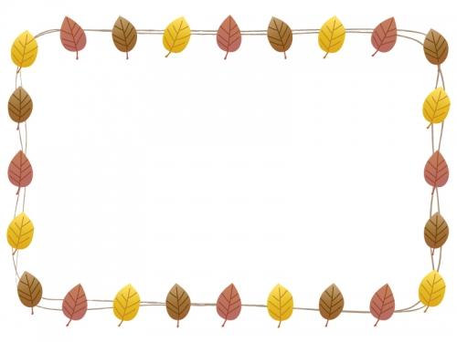 落ち葉の囲みフレーム飾り枠イラスト