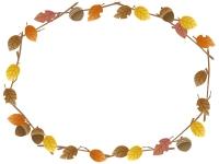 落ち葉とドングリのリース風フレーム飾り枠イラスト