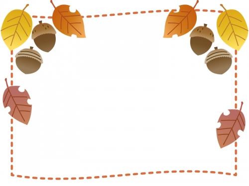 落ち葉とドングリの点線フレーム飾り枠イラスト
