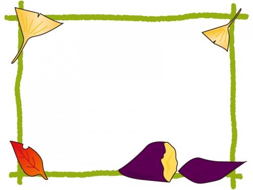 落ち葉と焼き芋のフレーム飾り枠イラスト