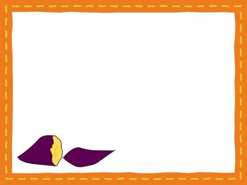 焼き芋のオレンジ色フレーム飾り枠イラスト