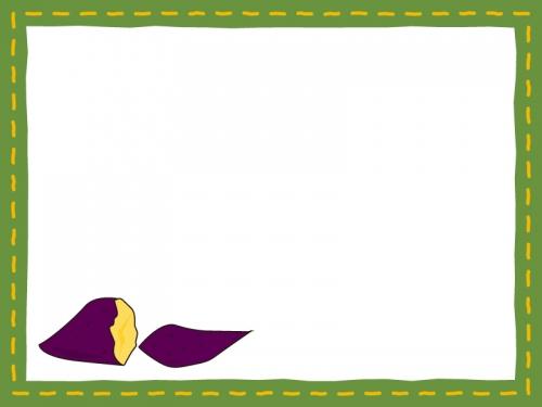 焼き芋の深緑色フレーム飾り枠イラスト