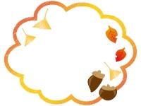 ドングリと落ち葉のフレーム飾り枠イラスト