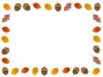 秋の紅葉とドングリのフレーム飾り枠イラスト