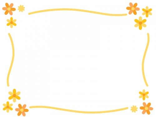 シンプルなオレンジ色の小花のフレーム飾り枠イラスト