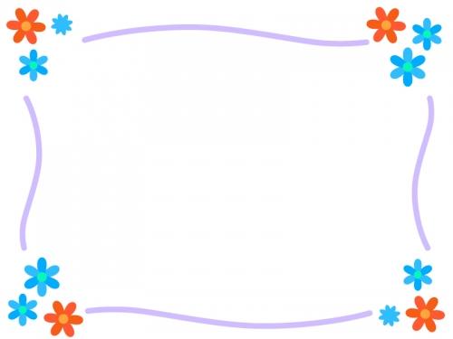 シンプルな水色の小花のフレーム飾り枠イラスト