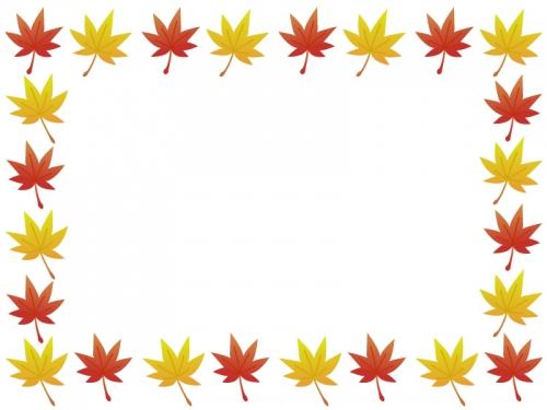 秋・紅葉もみじの葉っぱのフレーム囲み飾り枠イラスト
