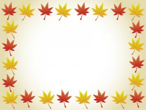 秋の紅葉・もみじのフレーム囲み飾り枠イラスト