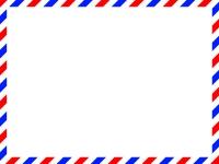 赤✕青のエアメール風フレーム飾り枠イラスト