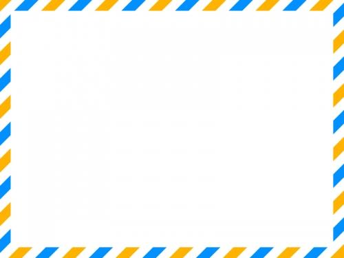 黄✕水色のエアメール風フレーム飾り枠イラスト