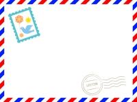 [切手・消印あり]赤✕青のエアメール風フレーム飾り枠イラスト