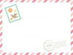 [切手・消印あり]ガーリーなエアメール風フレーム飾り枠イラスト