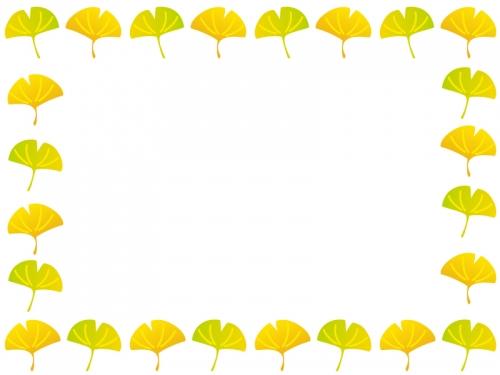 秋・イチョウの葉っぱのフレーム囲み飾り枠イラスト