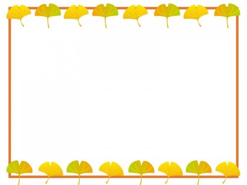 秋・イチョウのフレーム囲み飾り枠イラスト