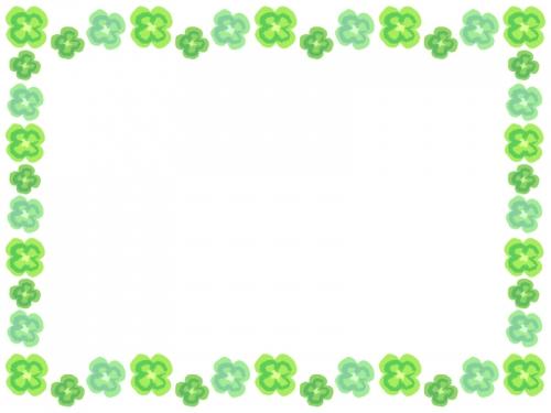 手書き風クローバーのフレーム飾り枠イラスト